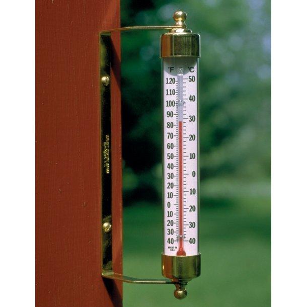 Termometer i messing, °C/°F, udendørs, 20 cm