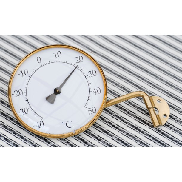 Termometer i messing, °C/°F, udendørs, Ø=21 cm