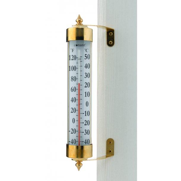 Termometer i messing, °C/°F, udendørs, 26 cm