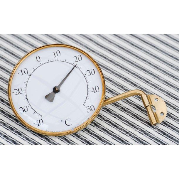 Termometer i messing, °C, udendørs, Ø=10,5 cm