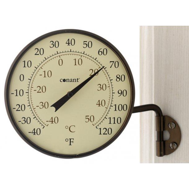 Termometer i aluminium/bronze, °C/°F, udendørs, Ø=10,5 cm