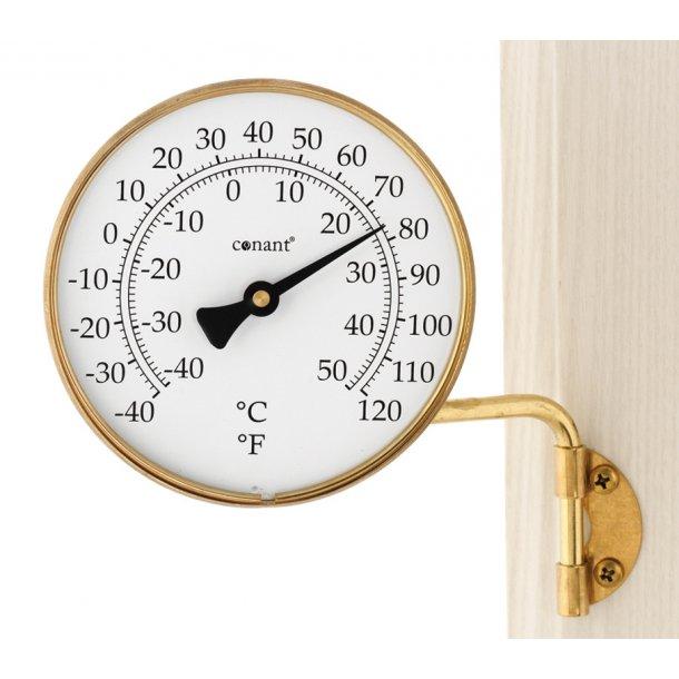 Termometer i messing, °C/°F, udendørs, Ø=10,5 cm