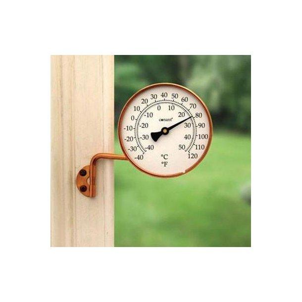 Termometer i kobber, °C/°F, udendørs, Ø=10,5 cm