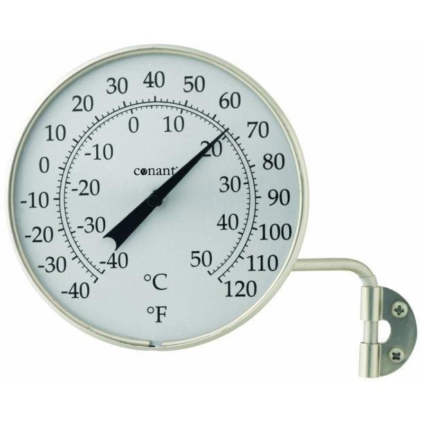 Termometer i aluminium, °C/°F, udendørs, Ø=10,5 cm