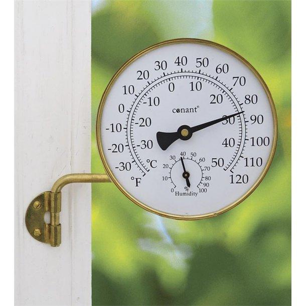 Vejrstastion i messing, °C/°F, termo-/hygrometer, udendørs, Ø=10,5 cm